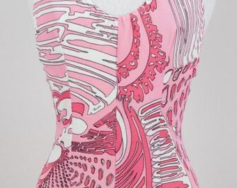 92f5df63109 EMILIO PUCCI 1960s Pink White & Black Signature Print One-Piece Halter Neck  Vintage Swimsuit Size S
