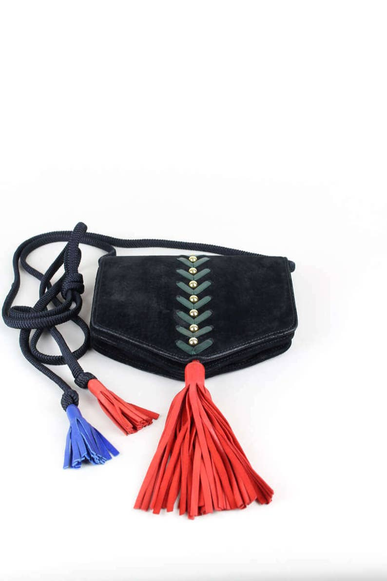 0b61fb53b223 YSL Yves Saint Laurent 1980s Collectible Vintage Shoulder Cross-Body Bag  Black Suede Stitching Studs Tassels Gift for Her