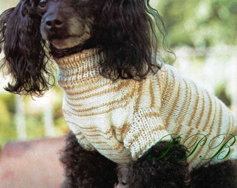 Knitted Dog Coat --- Small Dog Pattern --- PDF Knitting Pattern --- Great Market or Fair Item --- Digital Download