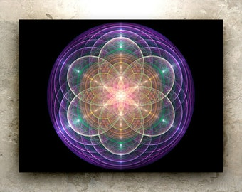 LADY LIGHT LABYRINTH Art – Hd Print: sacred geometry, fractal, mandala, water, nature, cosmic, prayer, metaphysical, matrix, goddess