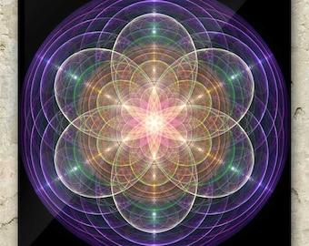 LADY LIGHT LABYRINTH Art – Fractal Greeting Card: sacred geometry, mandala, water, nature, cosmic, prayer,  metaphysical, matrix, goddess