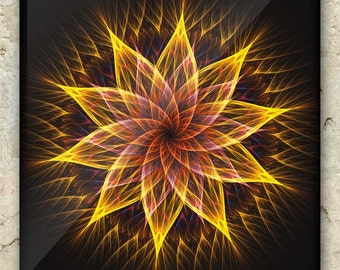 FLORAL RADIANCE ART – Fractal Greeting Card: sacred geometry, mandala, flower, bloom, elemental, nature, holistic, metaphysical, visionary