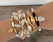 bonk ibiza beautiful double cowrie bracelet with gold plated or silver plated beads