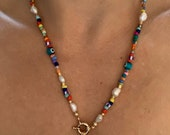 bonk ibiza sweetwaterpearl necklace with colorfull beads and gold coin