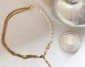 bonk ibiza 22k gold plated chunky necklace with charms and pearls