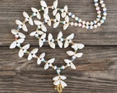 NEWBonk Ibiza beautiful superwhite Cowrie & Pastel beads necklace gith gold plated shells