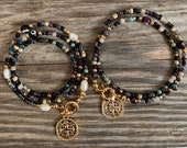 bonk ibiza sweetwaterpearl necklace with dark beads and gold coin