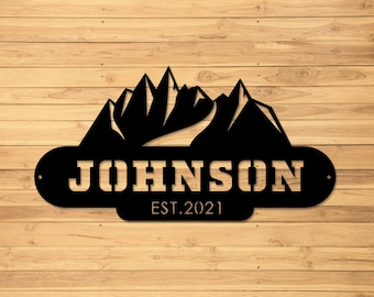 Metal Sign | Metal Letter Sign | Cabin | Family Name Sign | Family Sign | Mountains | Last Name Sign