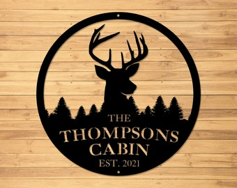 Metal Sign | Metal Letter Sign | Cabin | Family Name Sign | Family Sign | Deer | Last Name Sign