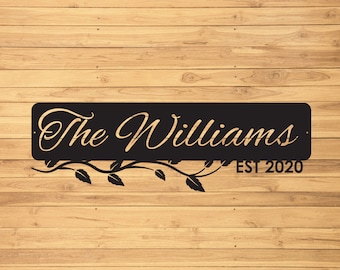 Custom Family Name Established Date Metal Sign, Personalized Last Name Metal Sign, Est Sign for Home, Couples Established Sign, Family Sign