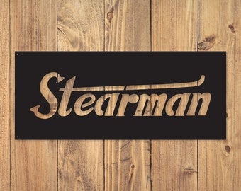 Stearman Metal Sign   Metal Name Sign   Aviation Sign   Metal Signs   Free Shipping