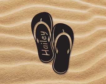 Flip Flop Sign   Sandal Sign   Custom Metal Sign   Metal Name Sign   Metal Signs   Free Shipping