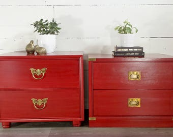 Campaign chest pair of nightstands His and Hers set bedroom end tables