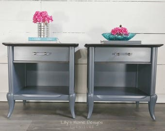 SOLD Pair of nightstands french provincial gray and ebony stained side end tables