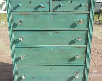 SOLD Green distressed tall dresser with teal, turquoise highlights and glass knobs, shabby chic, cottage chic, bohemian, modern farmhouse