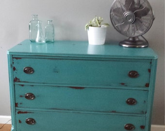 SOLD Turquoise dresser hand painted furniture bohemian vanity  distressed boho chic farmhouse teal hepplewhite bureau teal blue