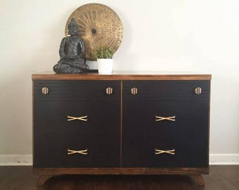SOLD Two tone black Mid Century dresser