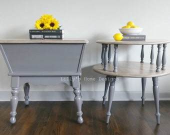 Farmhouse side tables / driftwood end tables / grey nightstands / pair of side tables