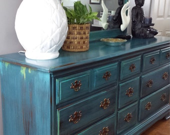SOLD Hand painted teal dresser patina green blue turquoise bohemian eclectic painted furniture mirror bedroom furniture