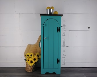 Painted cabinet / hand painted / storage cabinet / jelly cabinet / primitive furniture / farmhouse / cottage/ turquoise / patina green