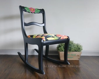 Rocking chair / hand painted / floral fabric