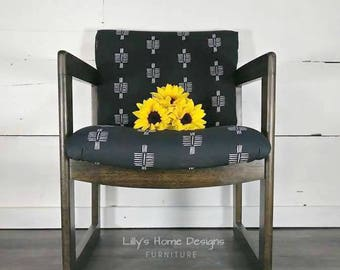 Mid century chair mudcloth style fabric