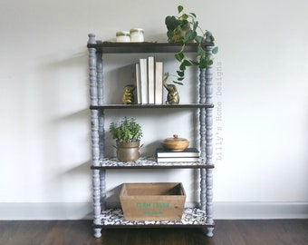 Bookshelf / Bookcase / grey / hand painted / Bohemian / Mexican Otomi / boho chic