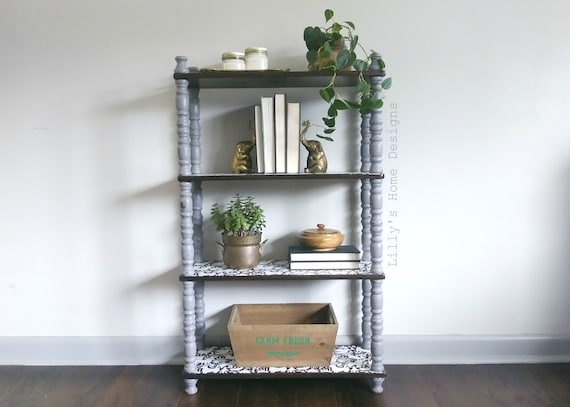 Bookshelf Bookcase Grey Hand Painted Bohemian