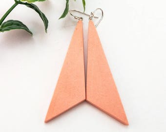 Peach geometric earrings, Long earrings, Minimalist earrings, Dangle earrings, Dangle drop earrings, Triangle earrings, Sterling silver