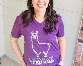 Llama Llama Autism Mama tee