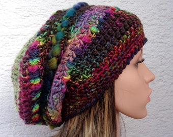 Baggy chunky crochet winter hat made with handspun/hand dyed merino yarn, slouch dread beanie, 100% wool, 55-56cm, 22-22.5in, size M