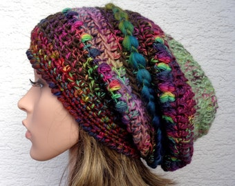 Chunky baggy crochet winter hat made with handspun/hand dyed merino yarn, slouch dread beanie, 100% wool, 55-56cm, 22-22.5in, size M