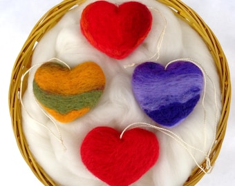 Set of 4 felt heart ornaments, felted wool gift for christmas tree, indoor winter decoration, table decor red yellow purple, 6x5cm, 2.4x2 in