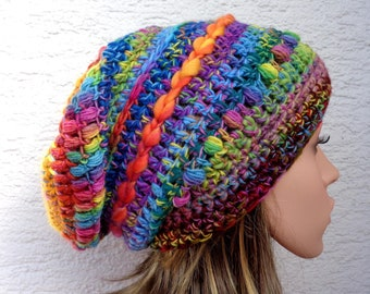 Chunky long fit crochet winter wool hat made with handspun/hand dyed merino yarn, rainbow slouch toque,100% wool, 55-56cm, 22-22.5in, size M