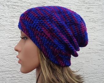 Blue purple hand dyed crochet slouch hat, unisex wool toque, in between season slouchy beanie, M-L, 22-23 inch, 55-57cm