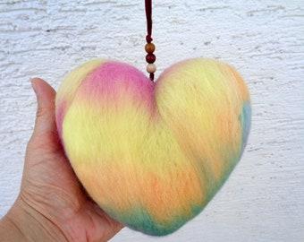 Large felt heart ornament with satin ribbon, felted hanging window decoration in pastel yellow pink green blue, lot no.2