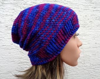 Size M blue purple crochet slouch hat, hand dyed merino wool toque, unisex in between seasons slouchy beanie hat, 22 inch, 55cm