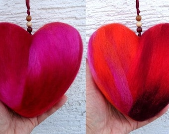 Two sided large felt heart ornament with satin ribbon in red orange pink, colourful felted hanging window decoration by stonecirclewools