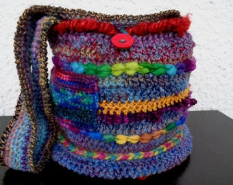 Handspun boho dream bag, crochet bag, shoulder bag, hippie bag, wool bag, boho bag, earth bag, crocheted bag, tote, pixie bag, buttoned bag