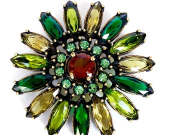 Joan Rivers Sunflower Brooch/Pin Green Shades Swarovski Navettes/Round Crystals Bronze Rubbed Metal