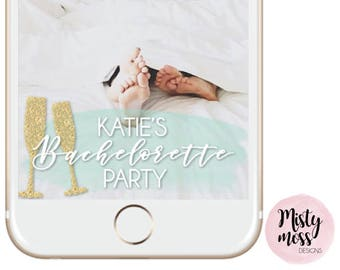 Bachelorette Party Snapchat Geofilter - Gold, Mint, Teal, Champagne, Glitter