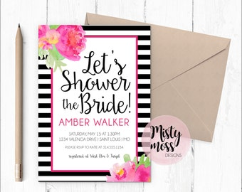 Pink Peonies Bridal Shower Invitation