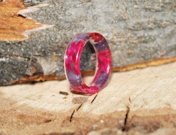 Rose,Gift for Her 2C Promise Ring Resin Ring Real Flower Resin Ring Plant Ring Botanical Ring Pressed Flowers ring rings for women