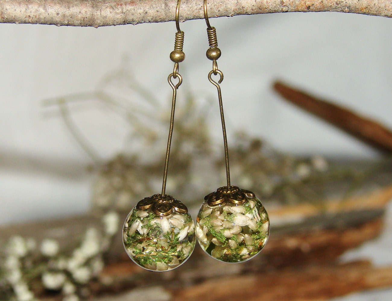 Real Flower Earrings Gift Resin Jewelry Art Earrings Dangle Etsy