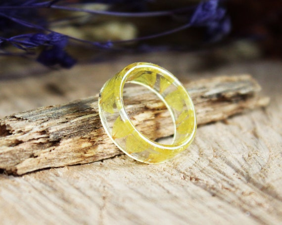 Pressed Flower Ring Inspiration Ring Forget Me Not Ring Promise Ring For Her Cute Gift Romantic Jewelry Resin Ring Art Nature Jewelry