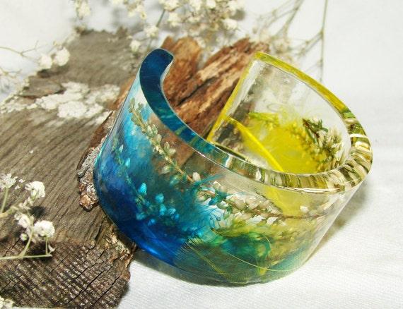 Resin Bracelet Pressed Flower Bangle Gift Bangle Fashion Resin Jewelry Handmade Women Gift Ideas Jewelry Inspiring Flower Art Bangle Boho