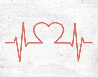 Heartbeat Svg, EKG SVG, Heart SvG, Nurse Svg, CHD Svg, Heart Warrior