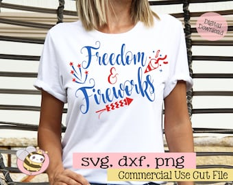 Freedom and Fireworks SVG, Fourth of July Svg File, Patriotic Svg, Home of the Free, 4th of July SVG Cut File, American Svg