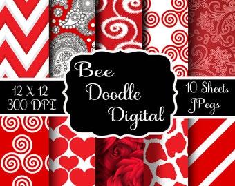 Digital Scrapbook Paper,  Printable Paper, Digital Paper, Digiscraps, Valentine Paper, Red, White
