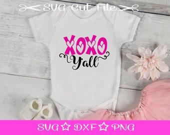 XOXO Y'all SVG, Valentine SVG, First Valentine svg File, svg Cut File for Silhouette Cameo, Cupid svg, Love svg, xoxo svg